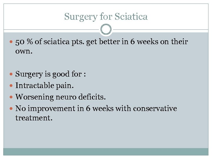 Surgery for Sciatica 50 % of sciatica pts. get better in 6 weeks on