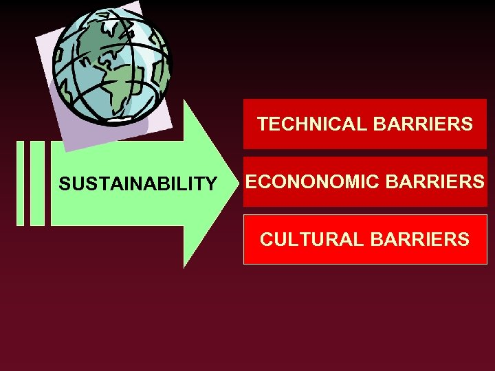 TECHNICAL BARRIERS SUSTAINABILITY ECONONOMIC BARRIERS CULTURAL BARRIERS