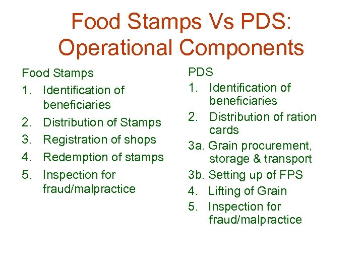 Food Stamps Vs PDS: Operational Components Food Stamps 1. Identification of beneficiaries 2. Distribution
