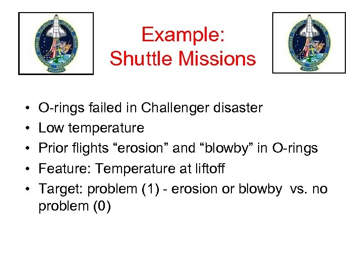 Example: Shuttle Missions • • • O-rings failed in Challenger disaster Low temperature Prior