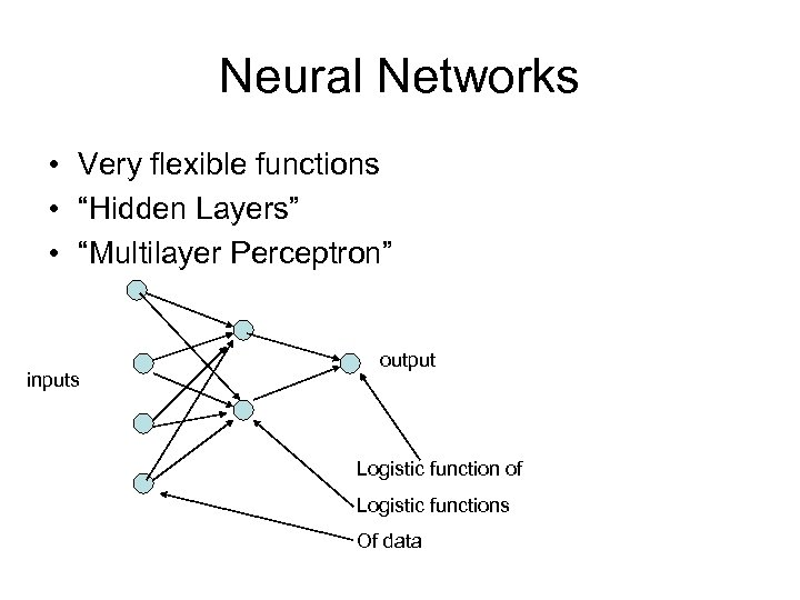 """Neural Networks • Very flexible functions • """"Hidden Layers"""" • """"Multilayer Perceptron"""" inputs output"""