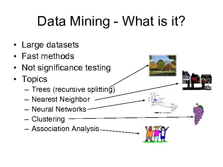 Data Mining - What is it? • • Large datasets Fast methods Not significance