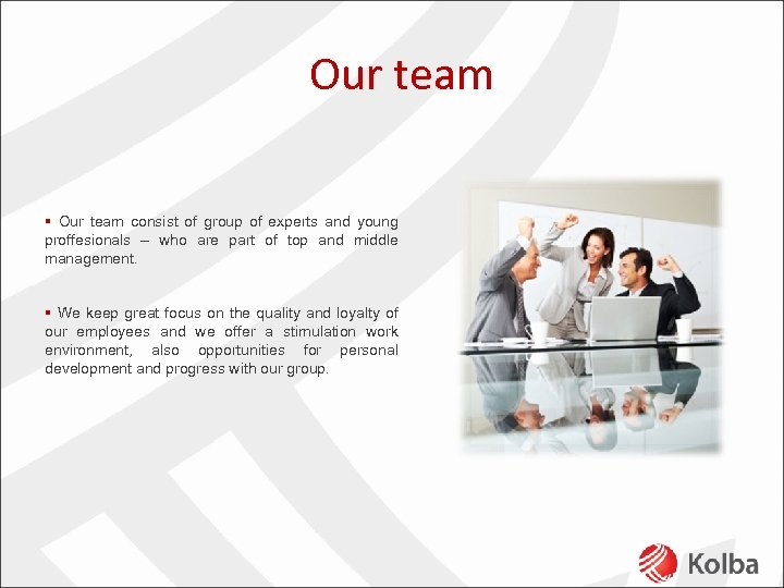 Our team § Our team consist of group of experts and young proffesionals –