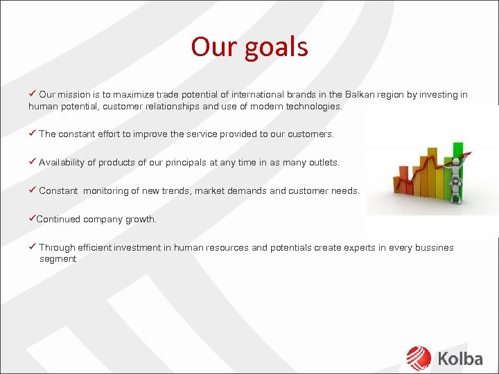 Our goals ü Our mission is to maximize trade potential of international brands in