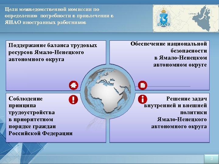 Цели межведомственной комиссии по определению потребности в привлечении в ЯНАО иностранных работников Поддержание баланса