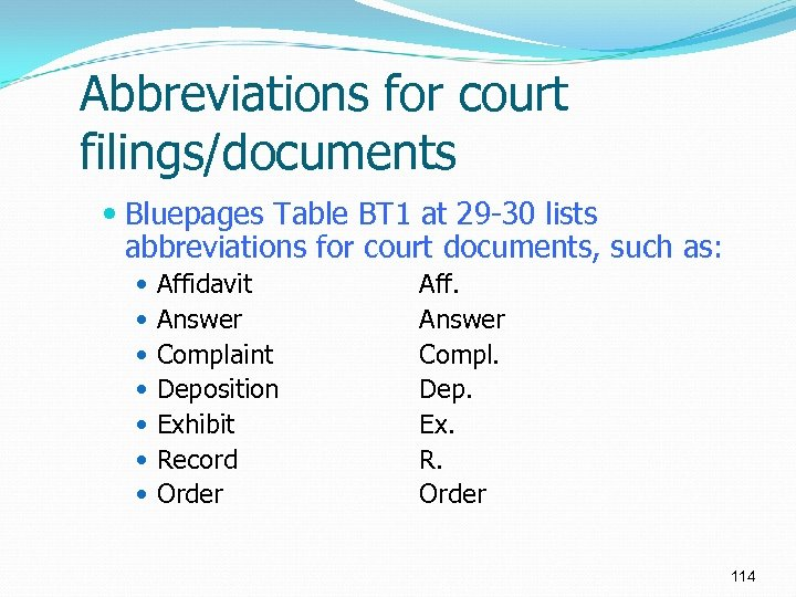 Abbreviations for court filings/documents Bluepages Table BT 1 at 29 -30 lists abbreviations for