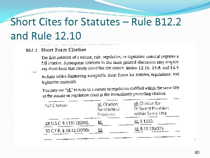 Short Cites for Statutes – Rule B 12. 2 and Rule 12. 10 80
