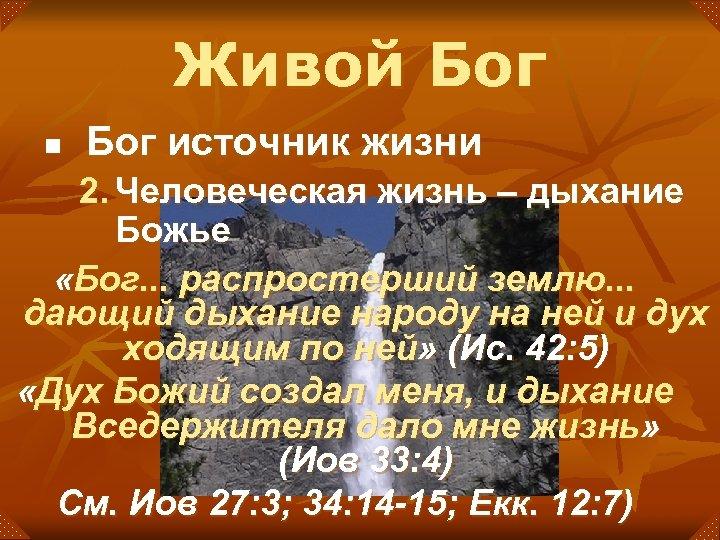 Живой Бог n Бог источник жизни 2. Человеческая жизнь – дыхание Божье «Бог. .