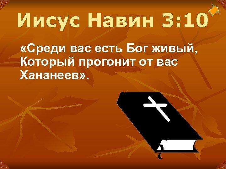 Иисус Навин 3: 10 «Среди вас есть Бог живый, Который прогонит от вас Хананеев»