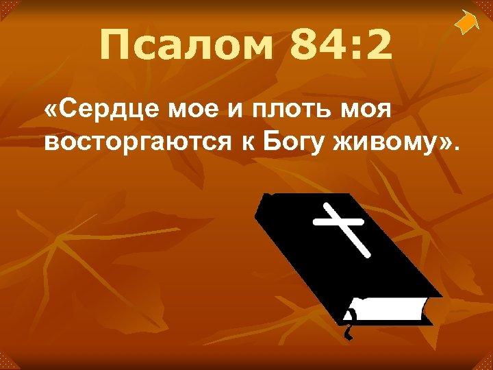 Псалом 84: 2 «Сердце мое и плоть моя восторгаются к Богу живому» .