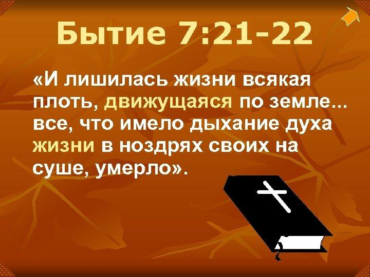 Бытие 7: 21 -22 «И лишилась жизни всякая плоть, движущаяся по земле. . .
