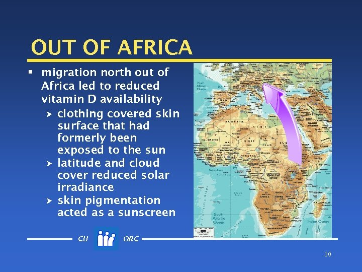 OUT OF AFRICA § migration north out of Africa led to reduced vitamin D