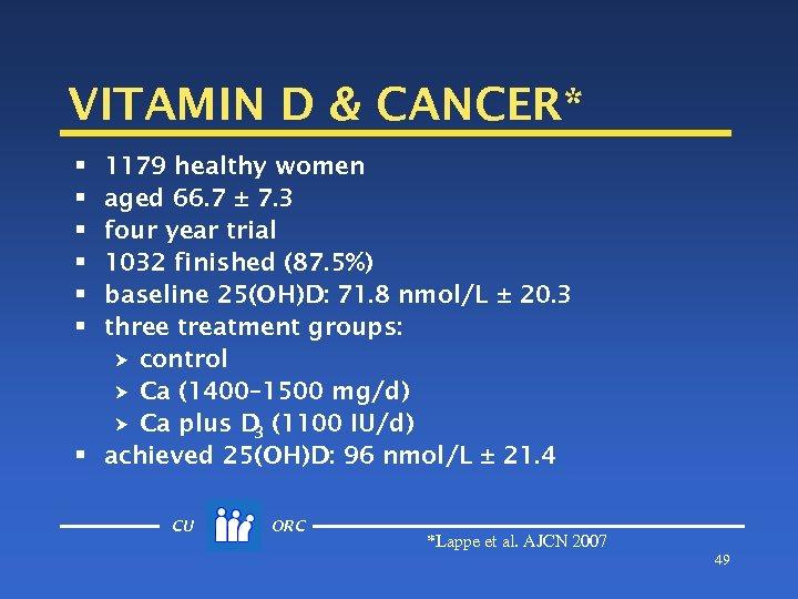 VITAMIN D & CANCER* 1179 healthy women aged 66. 7 ± 7. 3 four
