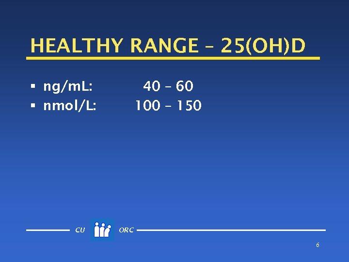 HEALTHY RANGE – 25(OH)D § ng/m. L: § nmol/L: CU 40 – 60 100