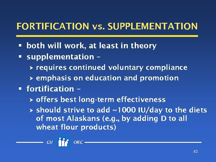 FORTIFICATION vs. SUPPLEMENTATION § both will work, at least in theory § supplementation –