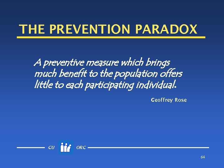 THE PREVENTION PARADOX A preventive measure which brings much benefit to the population offers