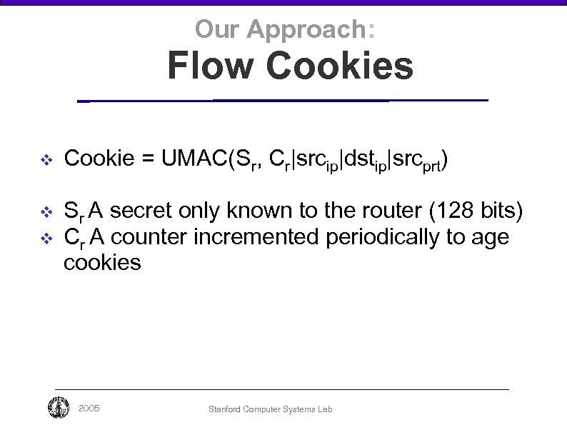 Our Approach: Flow Cookies v v v Cookie = UMAC(Sr, Cr|srcip|dstip|srcprt) Sr A secret