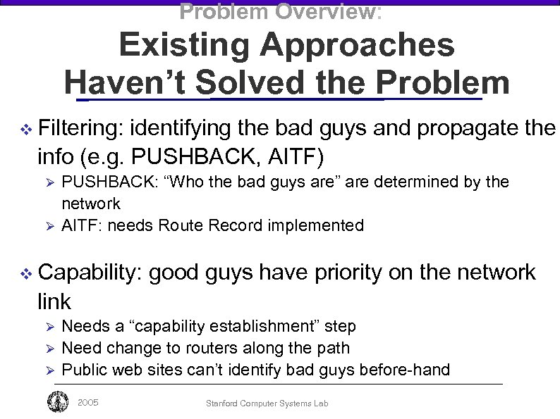 Problem Overview: Existing Approaches Haven't Solved the Problem v Filtering: identifying the bad guys