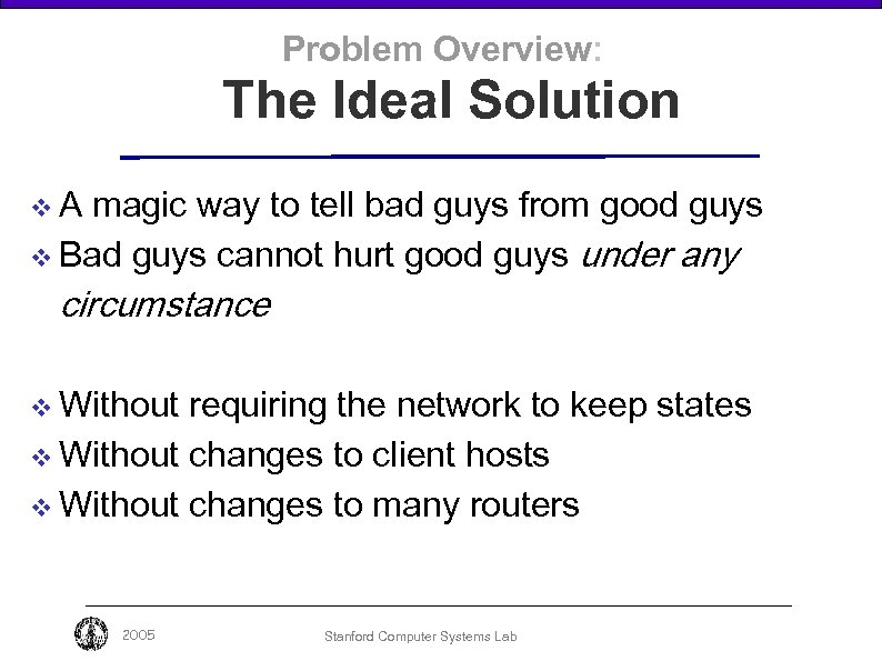 Problem Overview: The Ideal Solution v. A magic way to tell bad guys from