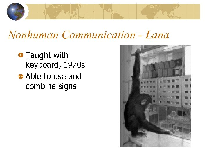 Nonhuman Communication - Lana Taught with keyboard, 1970 s Able to use and combine
