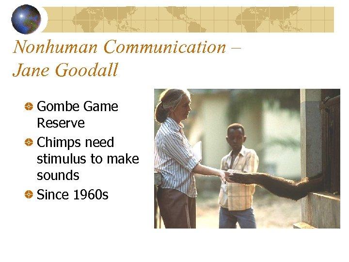 Nonhuman Communication – Jane Goodall Gombe Game Reserve Chimps need stimulus to make sounds