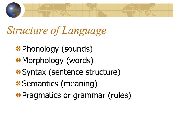 Structure of Language Phonology (sounds) Morphology (words) Syntax (sentence structure) Semantics (meaning) Pragmatics or