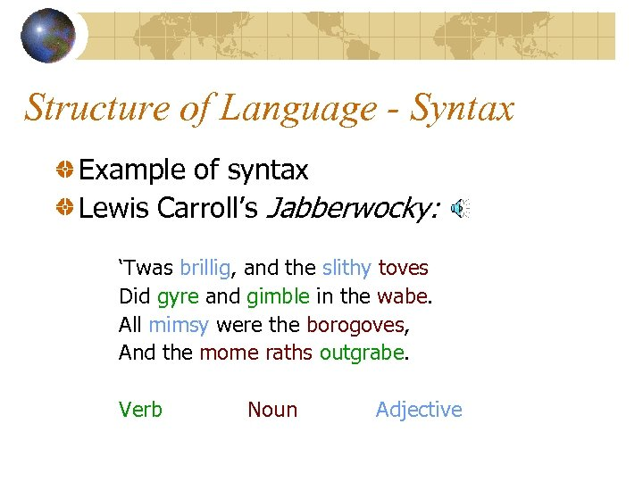 Structure of Language - Syntax Example of syntax Lewis Carroll's Jabberwocky: 'Twas brillig, and
