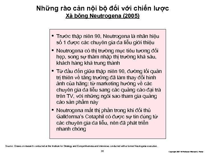 Những rào cản nội bộ đối với chiến lược Xà bông Neutrogena (2005) •