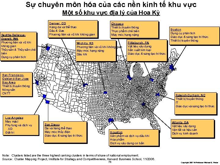 Sự chuyên môn hóa của các nền kinh tế khu vực Một số khu