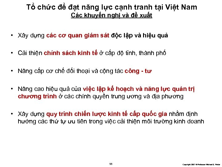 Tổ chức để đạt năng lực cạnh tranh tại Việt Nam Các khuyến nghị