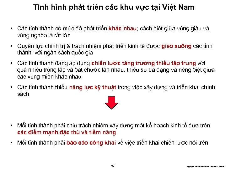 Tình hình phát triển các khu vực tại Việt Nam • Các tỉnh thành