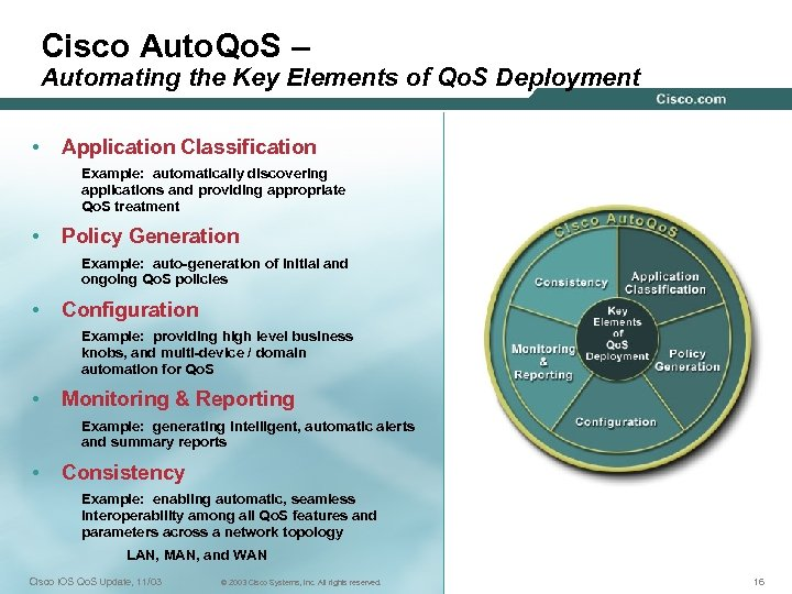 Cisco Auto. Qo. S – Automating the Key Elements of Qo. S Deployment •