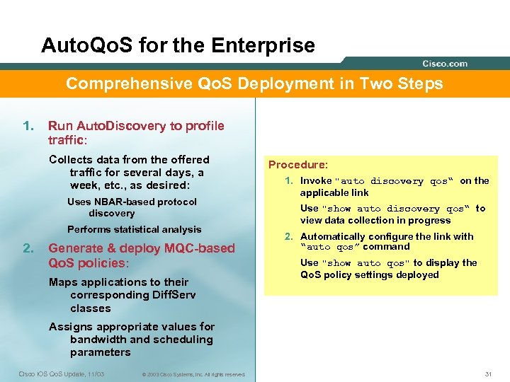 Auto. Qo. S for the Enterprise Comprehensive Qo. S Deployment in Two Steps 1.