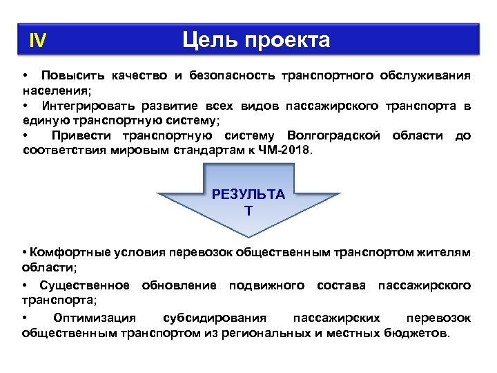IV Цель проекта • Повысить качество и безопасность транспортного обслуживания населения; • Интегрировать
