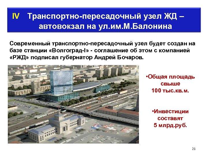 IV Транспортно-пересадочный узел ЖД – автовокзал на ул. им. М. Балонина Современный транспортно-пересадочный узел