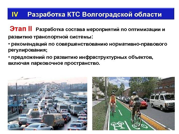 IV Разработка КТС Волгоградской области Этап II Разработка состава мероприятий по оптимизации и
