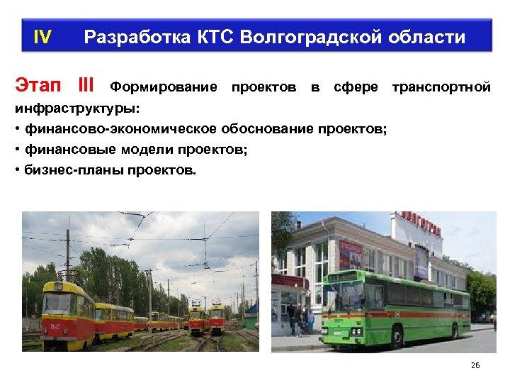 IV Разработка КТС Волгоградской области Этап III Формирование проектов в сфере транспортной инфраструктуры: