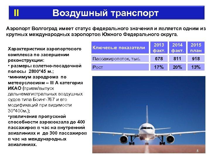 II Воздушный транспорт Аэропорт Волгоград имеет статус федерального значения и является одним из