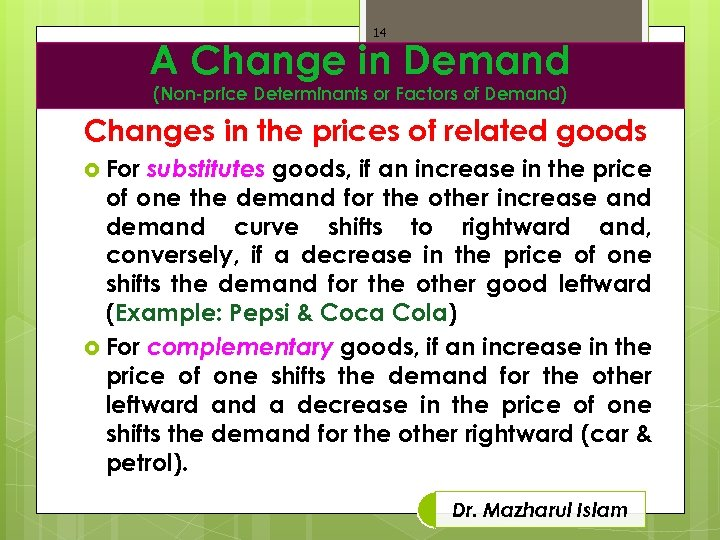 14 A Change in Demand (Non-price Determinants or Factors of Demand) Changes in the
