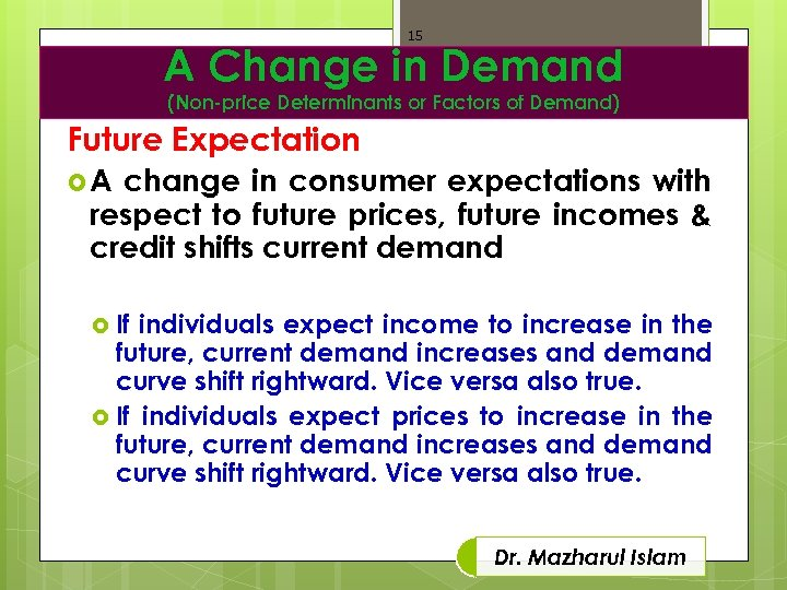 15 A Change in Demand (Non-price Determinants or Factors of Demand) Future Expectation A