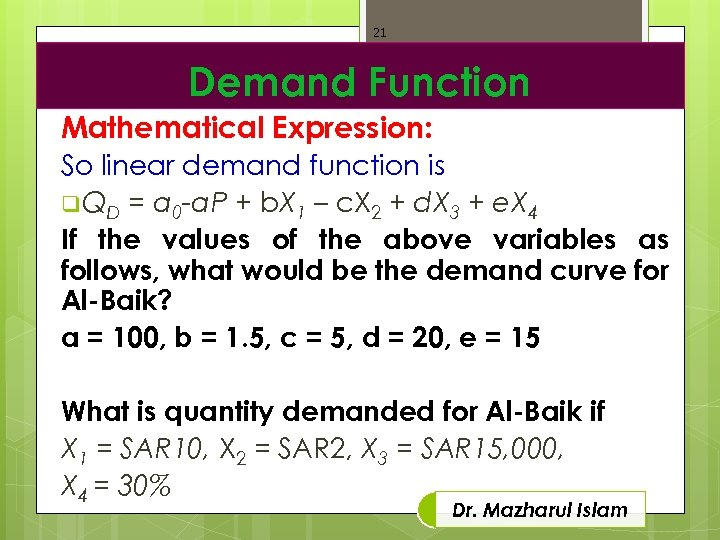 21 Demand Function Mathematical Expression: So linear demand function is q QD = a