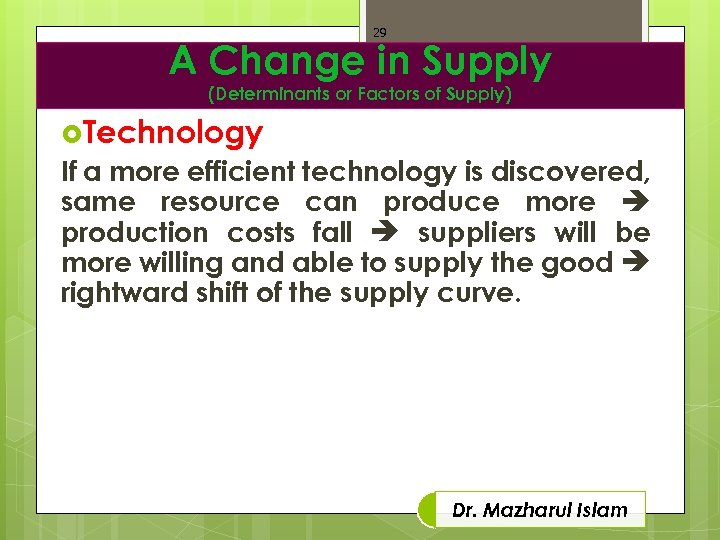 29 A Change in Supply (Determinants or Factors of Supply) Technology If a more
