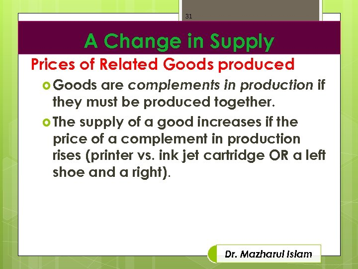 31 A Change in Supply Prices of Related Goods produced are complements in production
