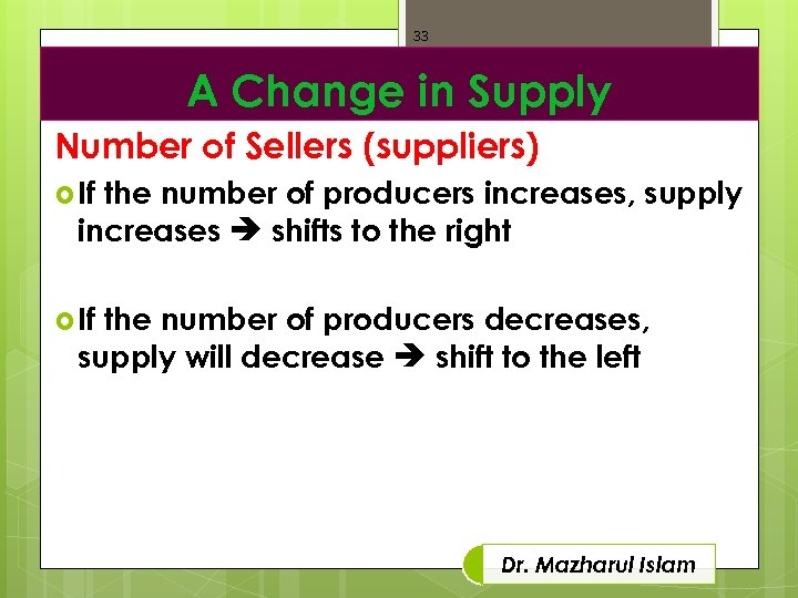 33 A Change in Supply Number of Sellers (suppliers) If the number of producers