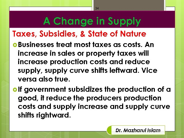 34 A Change in Supply Taxes, Subsidies, & State of Nature Businesses treat most