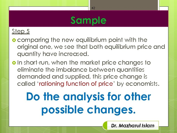 42 Sample Step 5 comparing the new equilibrium point with the original one, we