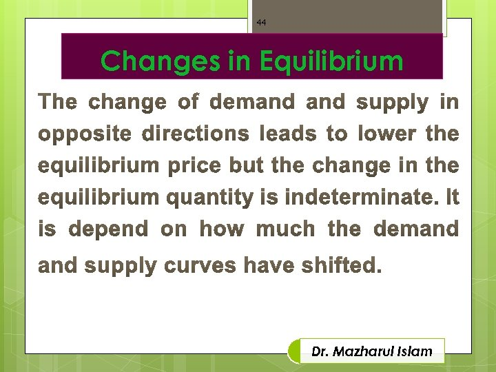44 Changes in Equilibrium Dr. Mazharul Islam