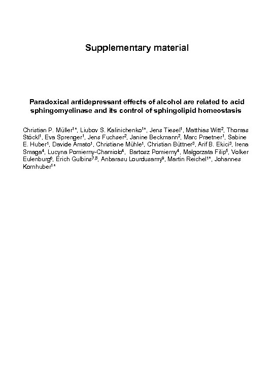 Supplementary material Paradoxical antidepressant effects of alcohol are related to acid sphingomyelinase and its