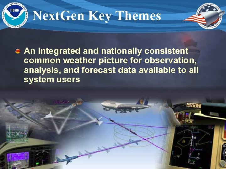 Next. Gen Key Themes An integrated and nationally consistent common weather picture for observation,