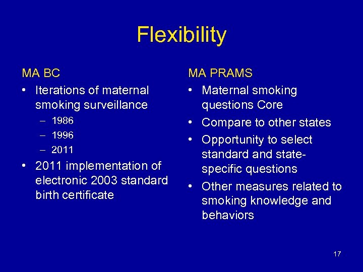 Flexibility MA BC • Iterations of maternal smoking surveillance – 1986 – 1996 –